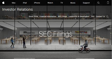アップルのSec filings(アメリカ証券取引委員会)のホームページへのリンク画像です。